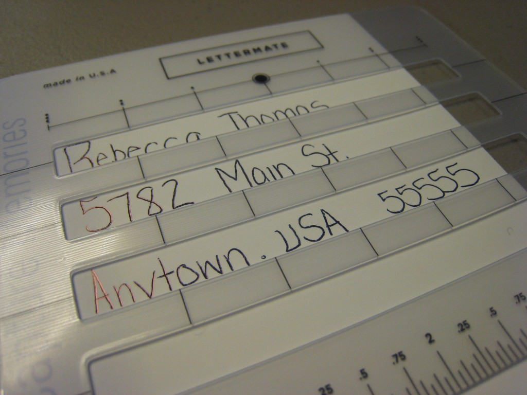 The lettermate helps keep text straight when addressing envelopes.