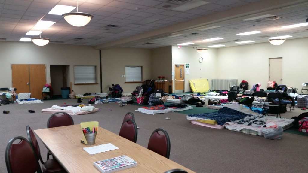 We met for coloring and conversation in the women's dorm, where the homeless women keep their possessions in bags and sleep in mattresses on the ground.