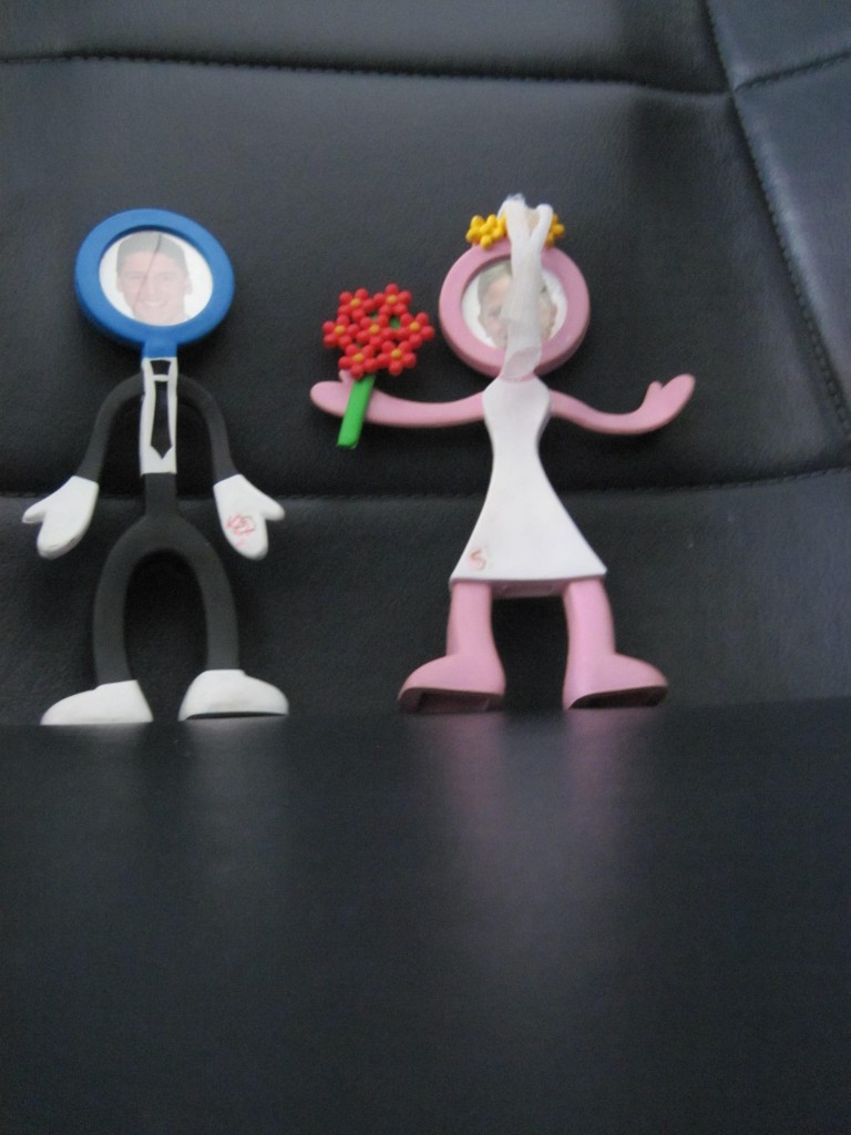 These were the cake toppers on our wedding cake and we take them with us on our big trips. Here they are on our Spirit flight to Punta Cana.