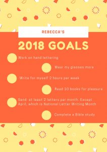 A list of my 2018 goals.